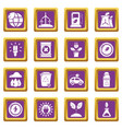 ecology icons set purple square vector image vector image