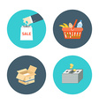 Flat design icons of e-commerce internet sh vector image vector image
