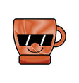 grated happy coffee cup kawaii with sunglasses vector image vector image