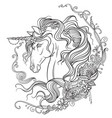 hand drawing unicorn coloring book vector image