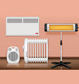 heaters interior realistic composition vector image vector image