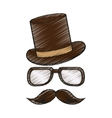 Isolated hipster hat glasses and mustache vector image vector image