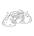 kid on clouds cartoon in black and white vector image vector image