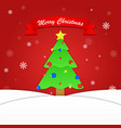 Merry Christmas background with tree and snowflake vector image vector image