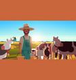 milkman holding buckets with fresh milk farmer vector image vector image