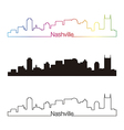 Nashville skyline linear style with rainbow vector image vector image