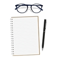 Notebook glasses pen vector image vector image