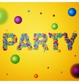 party word consisting of colored 3d particles vector image vector image