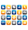 pets care icon set on buttons vector image vector image