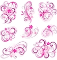 Pink abstract scroll flowers background vector image vector image