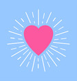 pink heart with white sun rays on blue background vector image vector image