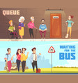 queue people banners set vector image vector image