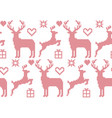 seamless pattern cross stitch reindeer christmas vector image vector image