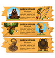 set banners nature and wild animals reserve vector image vector image