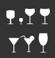 set of different wine-glass silhouettes of goblets vector image vector image