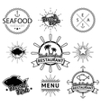 set seafood labels vector image