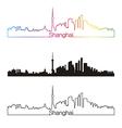 Shanghai skyline linear style with rainbow vector image