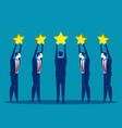 stars rating business people are holding stars vector image