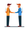 two business mans handshaking with hide a knife in vector image