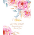 watercolor pink roses with golden glitter vector image vector image