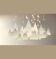 white paper village with mountain and tree vector image vector image