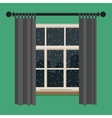 Window with view of the winter landscape vector image vector image