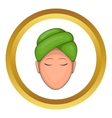 Woman with green towel on her head icon vector image