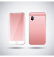 pink smartphone gadget digital front and back view vector image