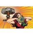 Nuclear explosion radiation hazard gas mask girl vector image
