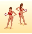 Valleyball player femal Girl on bearch posing vector image