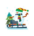 winter holidays snowman cheerful character in cold vector image