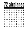 72 icons of airplanes vector image