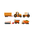 agricultural machinery set modern farm vehicles vector image