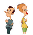 angry couple after quarrel vector image