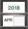 april 2018 calendar desk calendar modern design vector image