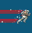astronaut runs forward stars of the universe vector image vector image