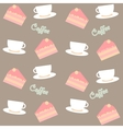 background with cakes and coffee cups vector image
