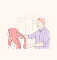 beauty shop barber haircare cut concept vector image vector image