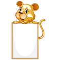 blank sign template with tiger on white background vector image vector image