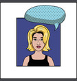 blond woman with speech bubble pop art style vector image vector image