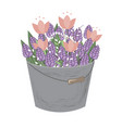 bouquet spring doodle hyacinths and tulip vector image vector image