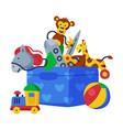 box batoys stick horse giraffe monkey vector image vector image
