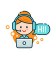cute smiling woman in call center vector image