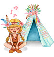 cute watercolor blond girl with pigtails singing vector image