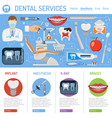 dental services banner and infographics vector image vector image