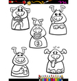 dog emotion set cartoon coloring book vector image vector image