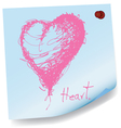 drawing of heart on sticky paper vector image vector image