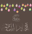 easter eggs hanging on the wire and florals vector image vector image