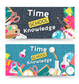 flat back to school horizontal banners concept vector image