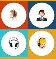 flat icon call set of earphone telemarketing vector image vector image